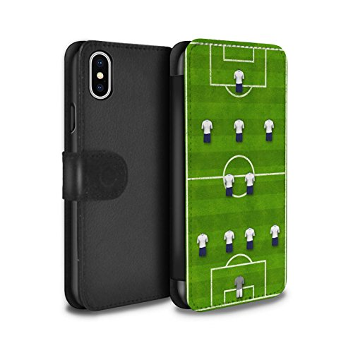 Stuff4 Coque/Etui/Housse Cuir PU Case/Cover pour Apple iPhone X/10 / 4-4-2/Blanc Design / Formation Football Collection 4-2-3-1/Blanc