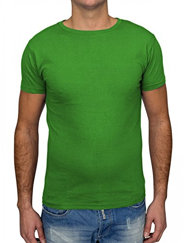 Herren T-Shirt · (Regular Fit) Shirt Sommer einfarbig Kurzarm Basic T-Shirt mit Rundhals Ausschnitt (O-Neck) aus reiner Baumwolle, Unifarben · H1530 in Markenqualität Grün