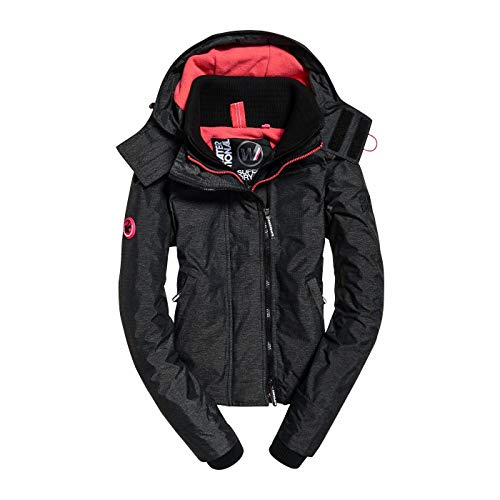 Superdry Arctic Hooded Pop Zip Windchea, Veste de Sport Femme, Noir (Black Linear Marl/Hot Pink Xe6), Large (Taille Fabricant: 14.0)