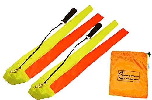 Kids Poi LIZARD Poi - Short Tail Fabric Practice Poi  UV Yellow Orange  Spinning Poi by Flames N Games   Travel Bag