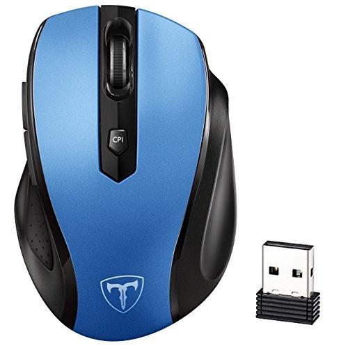 VicTsing Mini Schnurlos Maus Wireless Mouse 2.4G 2400 DPI 6 Tasten Optische Mäuse mit USB Nano Empfänger Für PC Laptop iMac Macbook Microsoft Pro, Office Home (Blau)