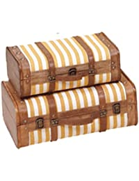 Maletas estilo vintage de Madera y tela amarilla y beige con asa de cuero