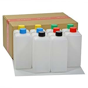 Bouteilles en plastique Octopus 10 x 500 ml, bouteilles en plastique PE-HD avec bouchon à vis de couleur vive, bouteilles vides avec bouchons à vis colorés, bouteilles carrées. Dix étiquettes incluses.