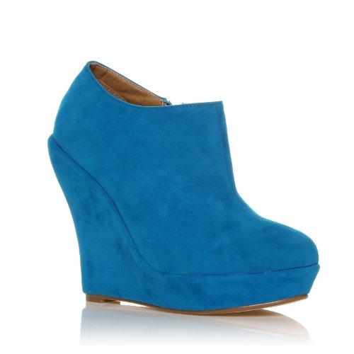 ShuWish UK - Chaussures talon compensé plateforme très haut imitation daim turquoise H051 Turquoise daim