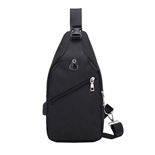 YULAND Handtasche Schultertasche Brusttasche, Männer Fashion Outdoor Pure Farbe USB Leinwand Messenger Brusttasche (Schwarz)