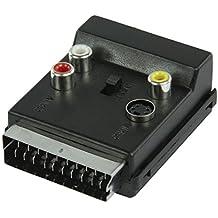 Valueline VLVP31903B – Adaptador conmutable SCART macho a SCART hembra con conectores RCA Phono y conector Super Video - Adaptador Euroconector a 2 x RCA Phono audio, 1 x RCA Phono Video, 1 x S-Video hembra