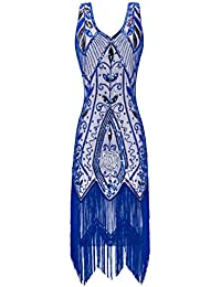 Metme Women's 1920s Flapper Fringe Beaded Great Gatsby Party Dress
