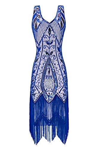 Metme Damen der 1920er Jahre Vintage Fringe Perlen Großer Gatsby Partykleid (Kleid 1920er Perlen Jahre Der)