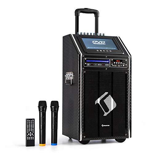 "auna DisGo Box 100 DVD • mobile PA-Anlage • 300 Watt max. • 9\"" TFT-Display • DVD • Bluetooth • verlängerter Trolley-Griff • 2 x UHF-Funkmikrofon • schwarz"