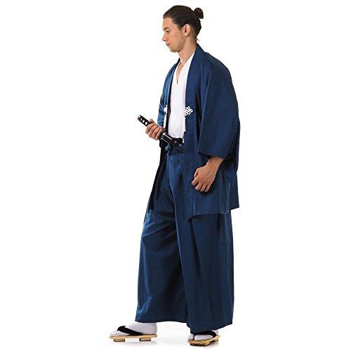 Japan Samurai Kimono Set 3 Teile Kendo Gi + Hakama + Haori Baumwolle M L XL (Blau & Weiß) - 2