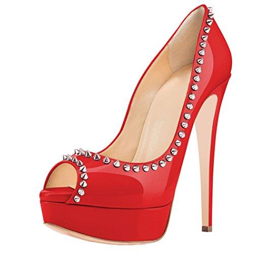 uBeauty Damenschuhe High Heels Pumps mit Nieten Peep toes Stilettos Plateau Absatz Lackleder Rot