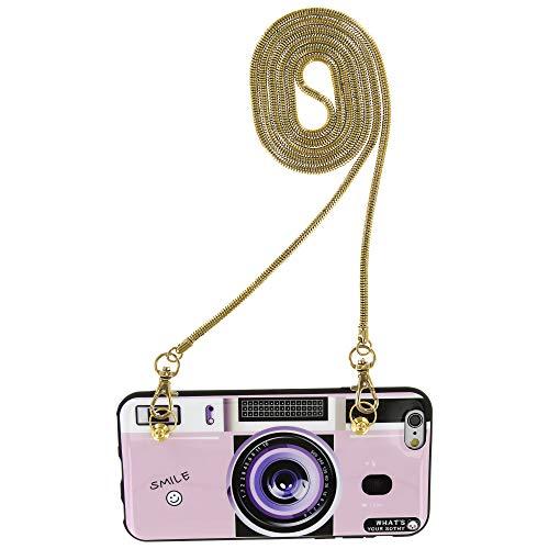 Fashion-Case Schutzhülle Softcase mit Kette Chain Handykette Strap Handtasche Schulterriemen für iPhone 6 6S 7 8 Plus (iPhone 6/6S, Kamera rosa)