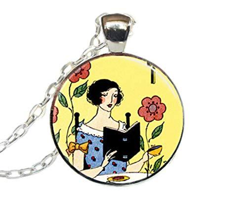 GUHUA Bibliothekar Schmuck Lesen Bücherwurm Kunst Anhänger Mädchen Lesen Bücher Halskette Zinklegierung Kette Glas Cabochon Anhänger