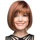 MAYOGO Perücken Damen Braun Kurz Bob,Mode Haarteile Perücke Haar Wigs Blond Braun Glatt,Cover Stirn Hitzebeständige 30cm