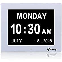 Hiluckey Reloj calendario Reloj Alzheimer | - reloj de pared , muestra claramente el día, semana y mes en español,Lectura fácil, perfecto para deficientes visuales mayores /Los niños Oficinas de Vida Inicio。