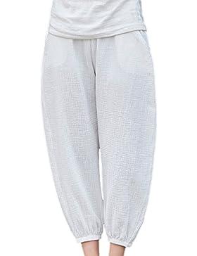 Vepodrau Las Mujeres Ropa De Doble Capa De Pantalones Cortos Pantalones Retro De Tobillo White One Size