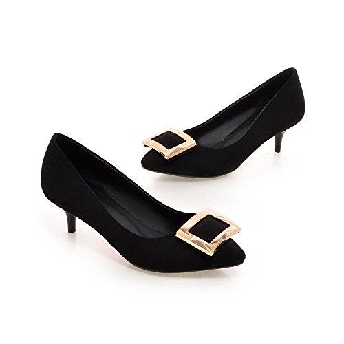 VogueZone009 Femme Mosaïque Suédé à Talon Correct Fermeture D'Orteil Pointu Tire Chaussures Légeres Noir