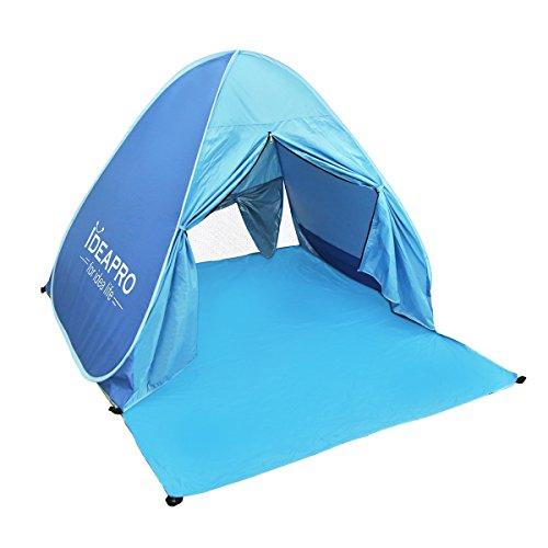 Ideapro Outdoor 2 persone rapido automatico pop up tenda impermeabile leggero portatile Cabana Beach Sun Shelter parasole con cerniera per porta e pieghevoli tende per campeggio pesca (blu)