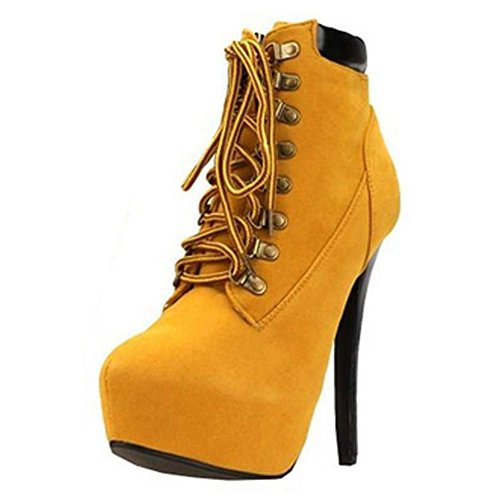 Minetom-Damen-Sexy-Boots-Stilettos-Spitzschuh-Schnrschuhe-Knchel-Stiefeletten-Super-High-Heels
