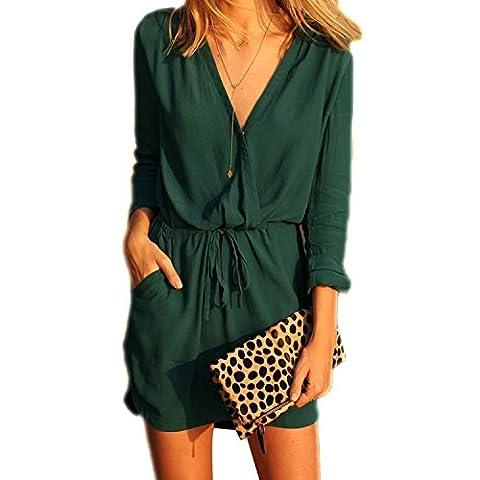 Minetom Damen Chiffon Blusenkleid Minikleid Sommerkleid Strandkleid V Ausschnitt Dunkelgrün (DE