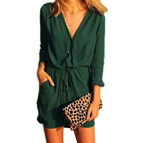 Minetom Femme Mode Casual Sexy Robe Mini Court - Manche Longue - Col V - Sundress One Color