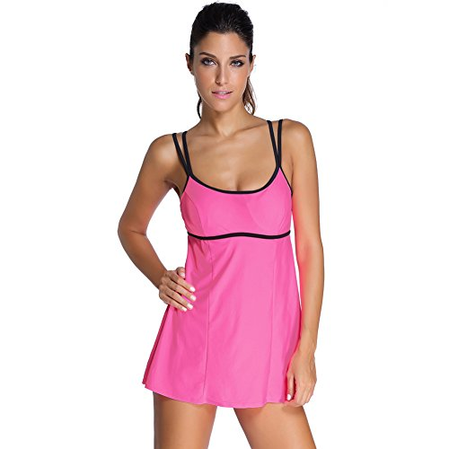 bikini - mode schulterriemen, groß minirock, badeanzug m rose red