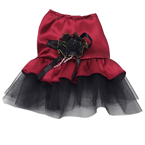 Cute Pet Tutu Kleid, Hmeng Bowknot Design Hund Rock Casual Spitze Haustier Welpen Katze Kleid für den Frühling Sommer Herbst (XS, Rot)