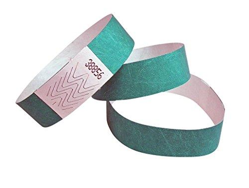 100 Stück Tyvek-Eintrittsbänder 19 mm breit x 255 mm lang - 19 Farben zur Wahl (Aqua (Türkis))