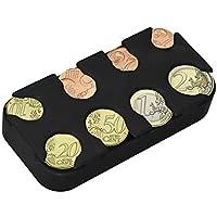 kwmobile Porta Monedas Euro - 8 Dispensadores de 1 céntimo a 2 Euros - Clasificador de monedas de la Unión Europea - negro