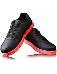 Monika Creations Unisex USB Rechargeable Black LED Simulation Shoes Sneaker - Light Up Your Personality (10UK/...