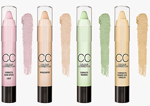 LyDia� CC Colour Corrector Concealer Stick 6pcs set - Highlighter/Corrects Redness/Corrects Dark spots (Light, Dark)/Corrects under eye circles/Corrects dullness (CC 6 shades set)