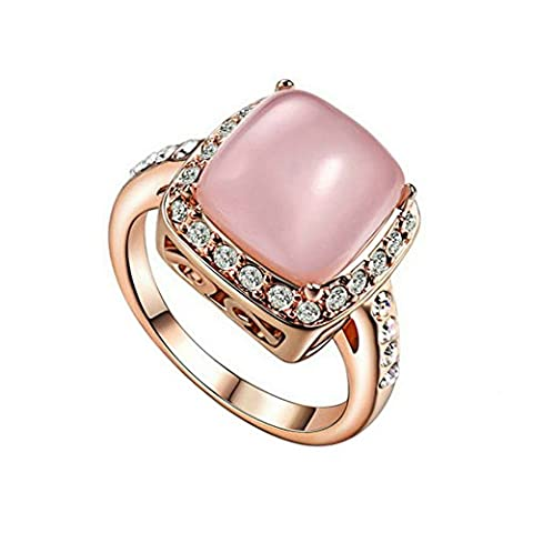 Yoursfs 18ct Rose Gold Plated Vintage Engagement Halo Rings for Ladies Statement Opal Ring with Pink Stone Fashion Jewellery Gift - Oro Giallo 18k Fidanzamento Impostazione