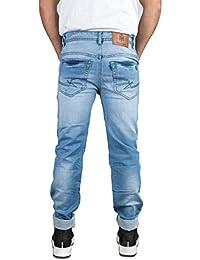 Meager Jeans Men's Denim Distressed Jeans Light Washed