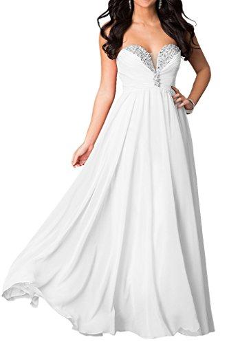 Milano Bride Lemon Gruen Chiffon Herzausschnitt Pailletten Abendkleider Brautjungfernkleider Promkleider Lang A-linie Weiß