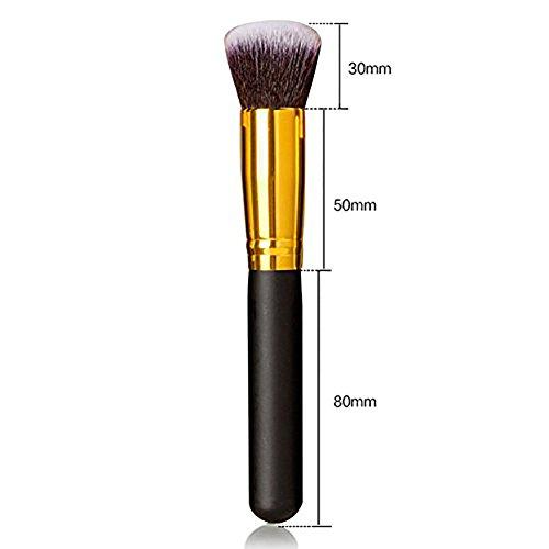 TASIPA 10Pcs Make-up Pinsel Sets, Make-up Schönheit Pinsel Woods Set für Make-up, Make-up Pinsel Set Kit mit einem tragbaren Reisetasche (Gold + Schwarz) - 4