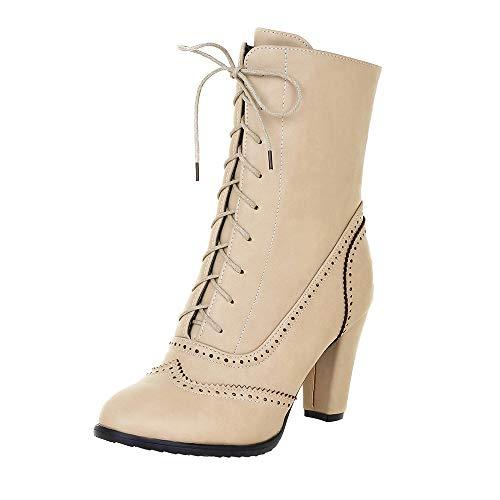 Riou Damen Klassische Spitzleder Schnürstiefel mit Hohem Absatz Middle Röhre Elegant Freizeit Ankle Schuhe Boots (37.5 EU, Beige) -