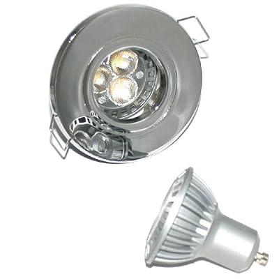 5er Set LED Einbaustrahler Jim IP44 Farbe Chrom GU10 Power LED 5W Weiß 230V