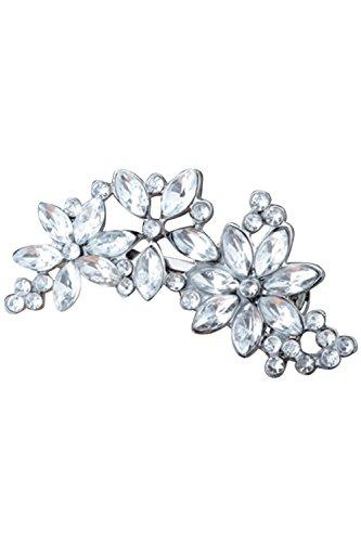 SODIAL (R) Silber Damen Strass-Blumen-Kristall-Haarklammer Schmucksachen