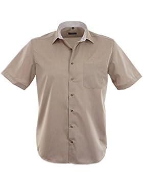 ETERNA Herren Kurzarm Hemd Modern Fit Chambray Modern-Kent braun / beige Brusttasche mit Patch 8502.25.C15P
