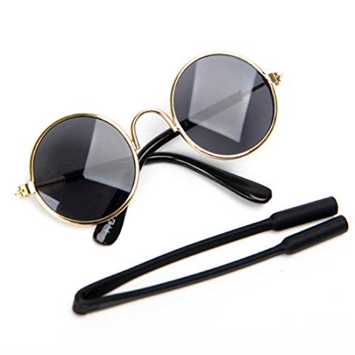 Katzen Sonnenbrille Retro Katzenzubehör Cosplay Brille Requisiten Fotos Haustier Sunglasses Eye-Wear für Kleine Hunde Welpen Lustige Kostüm (Schwarz)