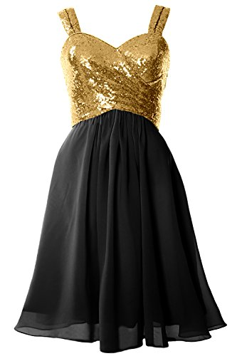 MACloth Gorgeous Sequin Short Bridesmaid Dress Cowl Back Cocktail Formal Gown Gold-Black