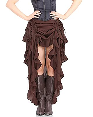 ThePirateDressing Steampunk Victorian Gothic Punk Vampire Show Girl Skirt C1367 [Chocolate]