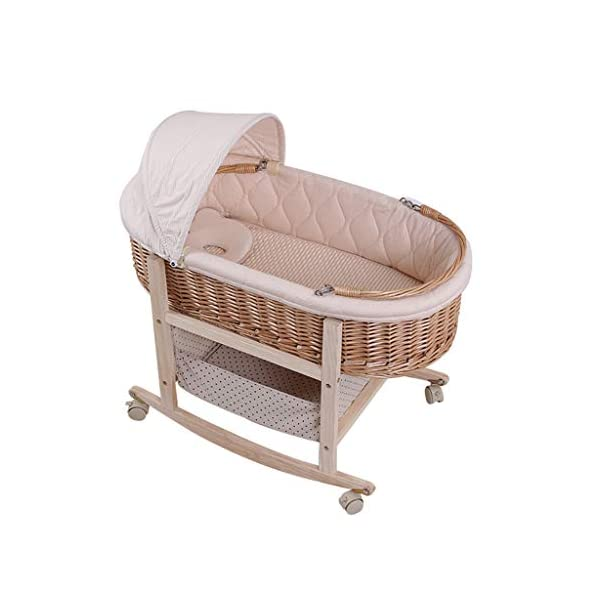 It Can Move Baby Cot, Multifunction Portable Cradle Portable Car Load Baby Travel Bed, 60 * 90CM (Size : 90 * 60CM) Zhao ♥ Product Name: Removable Baby Crib// Size: 60*90CM//Material: Wood; ♥Characteristics: Sturdy detachable beam, can be pushed and pushed double mode, mosquito net and sunshade, lower storage pocket, high quality colored cotton comfortable mattress, soft and smooth, giving baby comfort and enjoyment; ♥Bionic uterus design, give your baby enough safety, let the baby sleep sweetly; 1