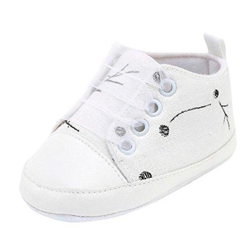 erthome Baby Schuhe, Neugeborenen Kleinkind Baby Mädchen Jungen Floral Stickerei Druck Solide Weiche Sohle Freizeitschuhe (6-12 Monate, Weiß) - Farbton Damen Socken Jeans