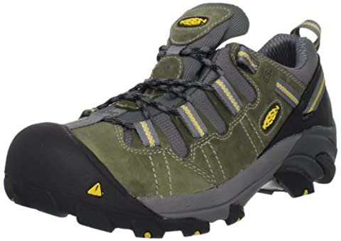 KEEN Utility Men's Detroit Low ESD Soft Toe Work Boot,Black/Green,7 EE US