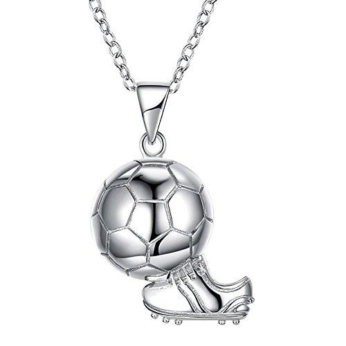 Axiba Europa und die Vereinigten Staaten Mode Welt Cup Fußball Anhänger Sterling Silber Halskette S925 Sterlingsilber Schlüsselbein Neckl Ass Girl Das schönste Geschenk -