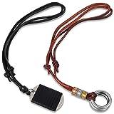 Yadoca 2 Stück Legierung Doppel Ringe Braun Leder Halskette/Dog Tag Schwarz Leder Anhänger Halskette für Mann Jungen Retro Style Einstellbar