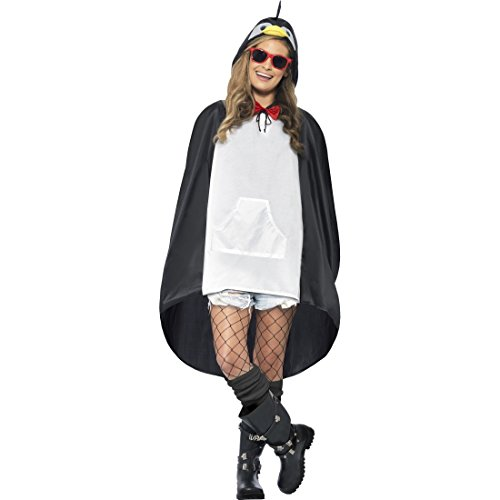 NET TOYS Pinguinkostüm Pinguin Kostüm Cape Vogel Poncho Vogelkostüm Regencape Zoo Tierkostüm Regenponcho Faschingskostüm Karnevalskostüme Tier