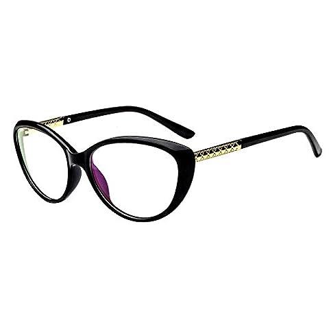 Forepin® Lunettes de Vue Vintage pour Femme et Homme Verre Transparent Cadre Frame Lentille Claire Unisex Retro Mode Fashion Eyeglasses (Brillant Noir)