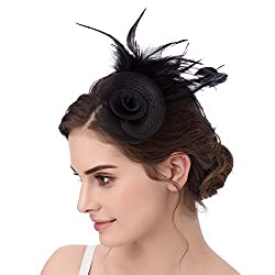 ABaowedding AbaoWedding Feather Fascinator Cocktail Party Hair Clip Pillbox Hat (Black)